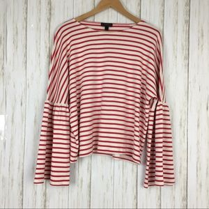 J.Crew Bell Sleeve Striped T Shirt Blouse
